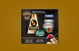 Confezione regalo: Parmigiano Reggiano oltre 40 mesi con Fragole in sciroppo Fabbri