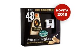 Natale di preziosi sapori: la nuova confezione con un deciso formaggio Parmigiano Reggiano 48 mesi e perle di aceto balsamico di Modena IGP