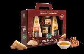 Tutta la bontà del Grana Padano Dop Ferrari da degustare con miele e frutta secca.