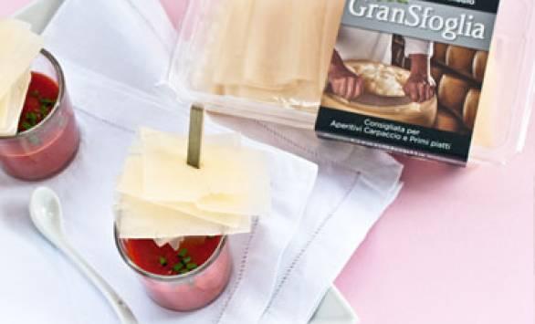Crema di peperoni e spiedino di Gransfoglia