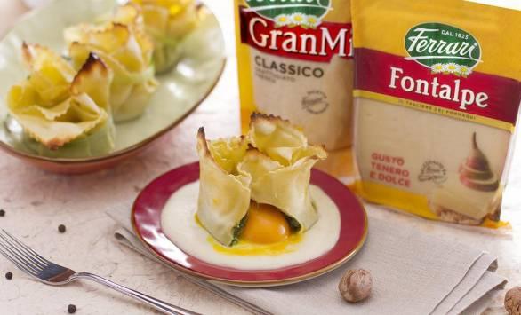 Fagottino di pasta all'uovo con cuore fondente