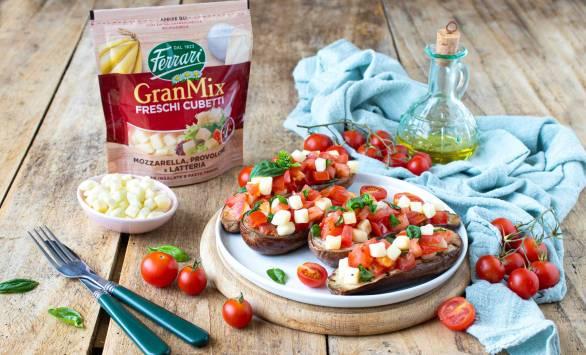 Bruschette di melanzane farcite con pomodorini e GranMix Freschi Cubetti