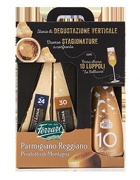 Parmigiano Reggiano Prodotto di Montagna oltre 24 e 30 mesi con birra chiara 10 luppoli Angelo Poretti