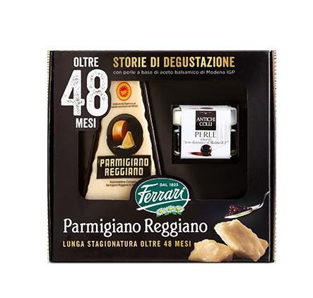 Confezione degustazione Ferrari Formaggi: Parmigiano Reggiano e perle a base di aceto balsamico di Modena IGP
