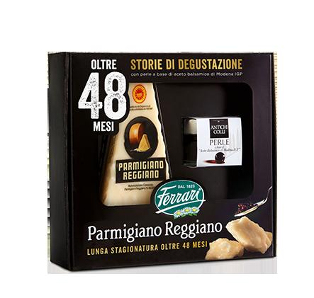 Ferrari Formaggi: Parmigiano Reggiano e perle a base di aceto balsamico