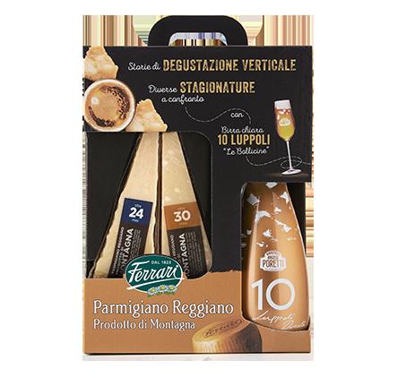 Confezione degustazione Ferrari Formaggi: Parmigiano Reggiano e birra Poretti
