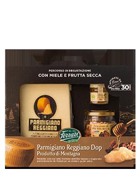Parmigiano Reggiano Dop Prodotto di Montagna 30 Mesi Ferrari con miele e frutta secca