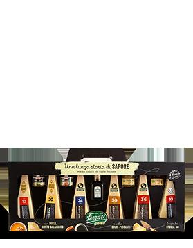Grana Padano, Parmigiano Reggiano Prodotto di Montagna, Pecorino Romano con mieli, salse e aceto balsamico